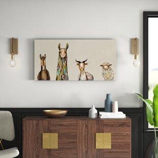 985c22453134 'Donkey, Llama, Goat, Sheep' Acrylic Painting Print on Canvas in Cream