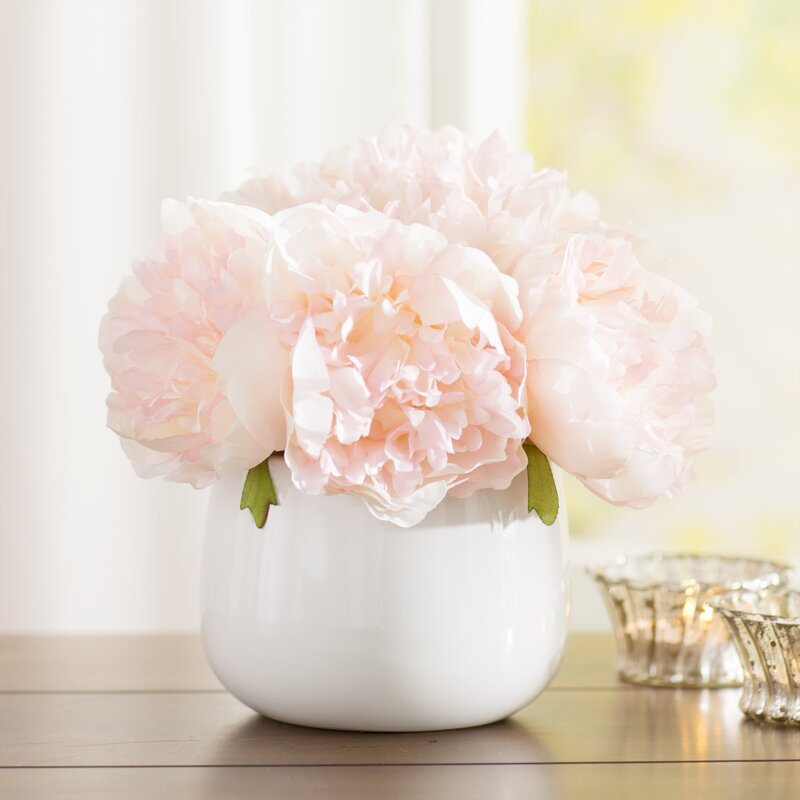 House Of Hampton Peony Floral Arrangement In Vase Reviews Wayfair
