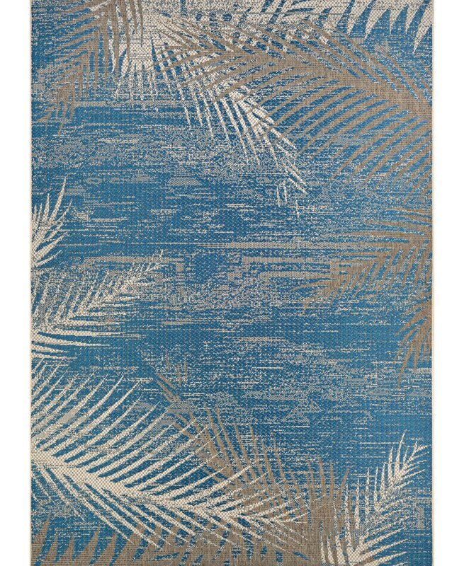 Beachcrest Home Odilia Tropical Palms Blue Gray Beige