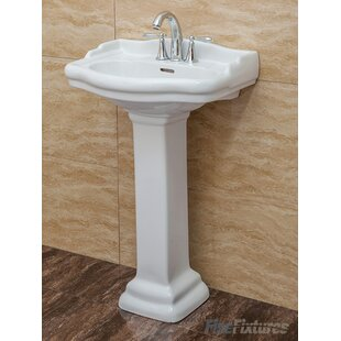 """Roosevelt Vitreous China 22"""" Pedestal Bathroom Sink with Overflow"""