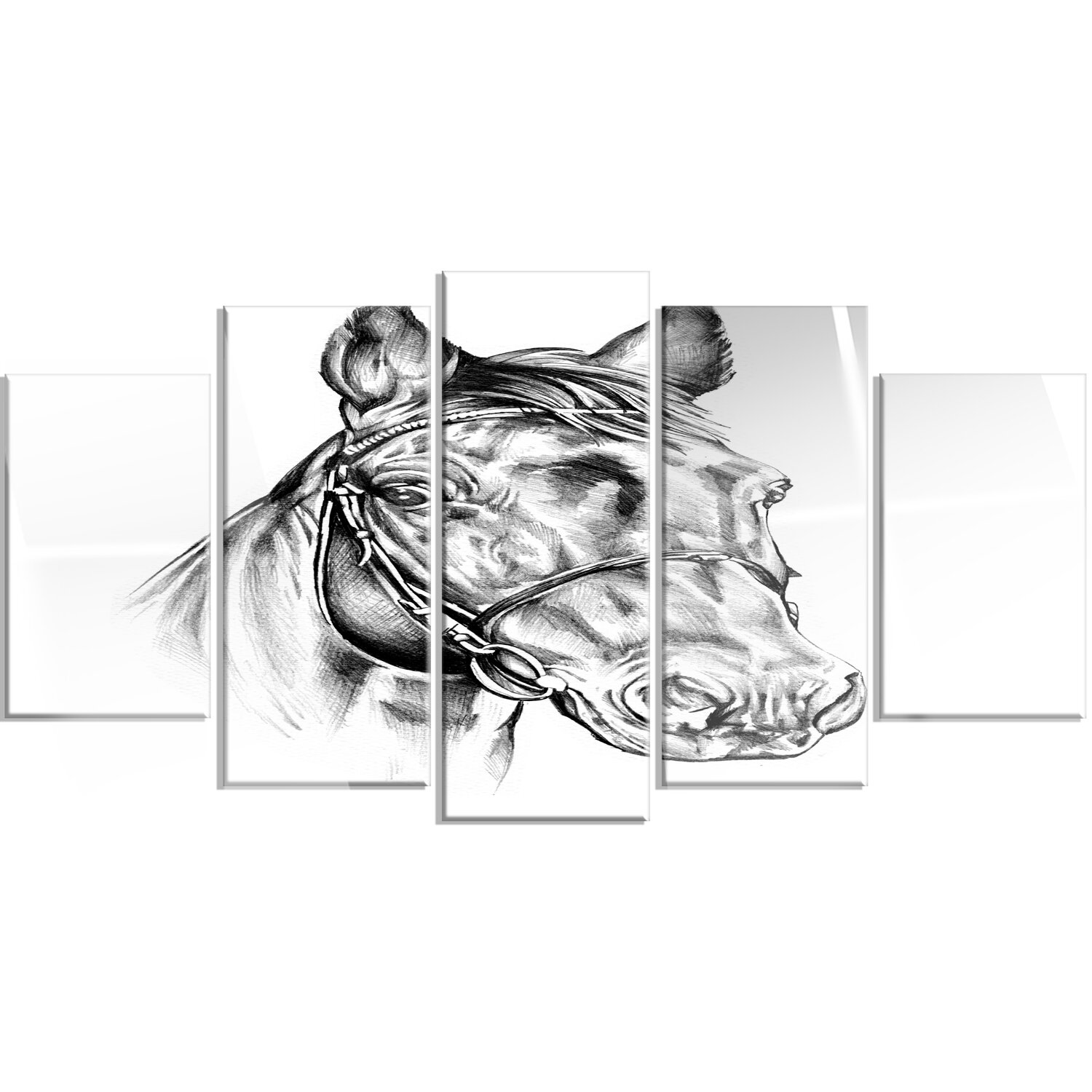 Freehand horse head pencil drawing 5 piece graphic art on metal set