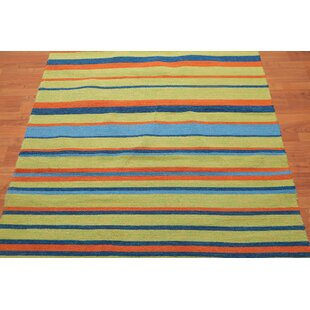 Batista Traditional Persian Oriental Hand Tufted Blue Lime Green Area Rug