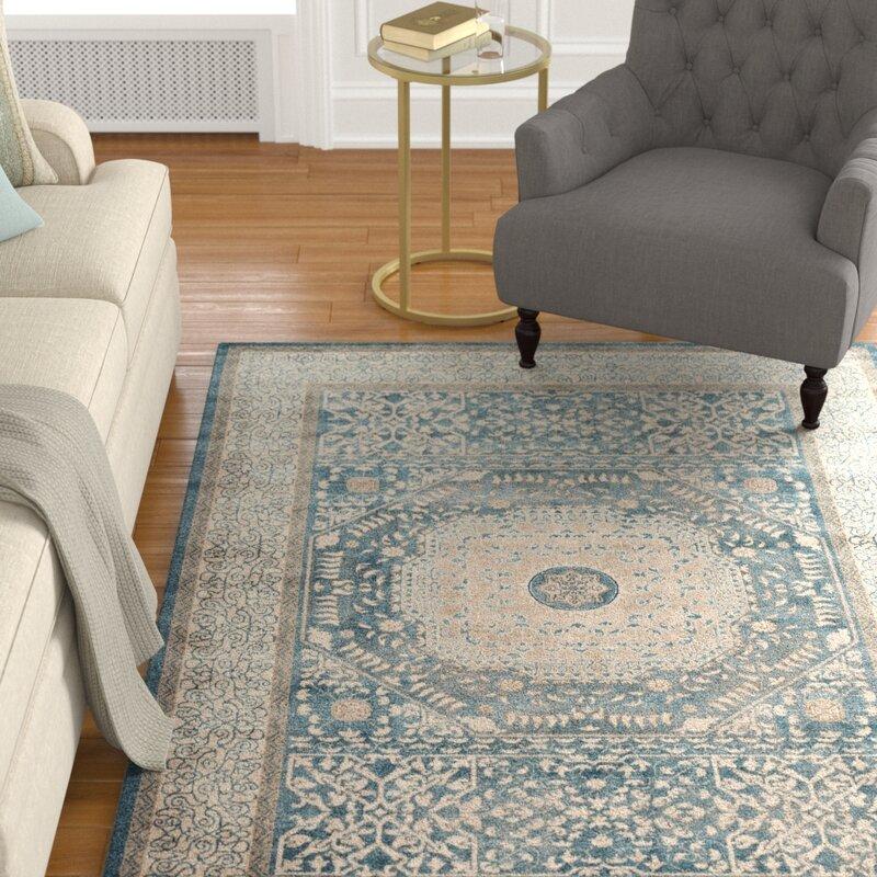 Alcott Hill Adelbert Blue/Sand Area Rug, Size: Rectangle 28 x 76