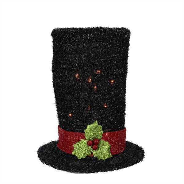 Northlight Lighted Tinsel Snowman Top Hat Christmas Tree Topper ...