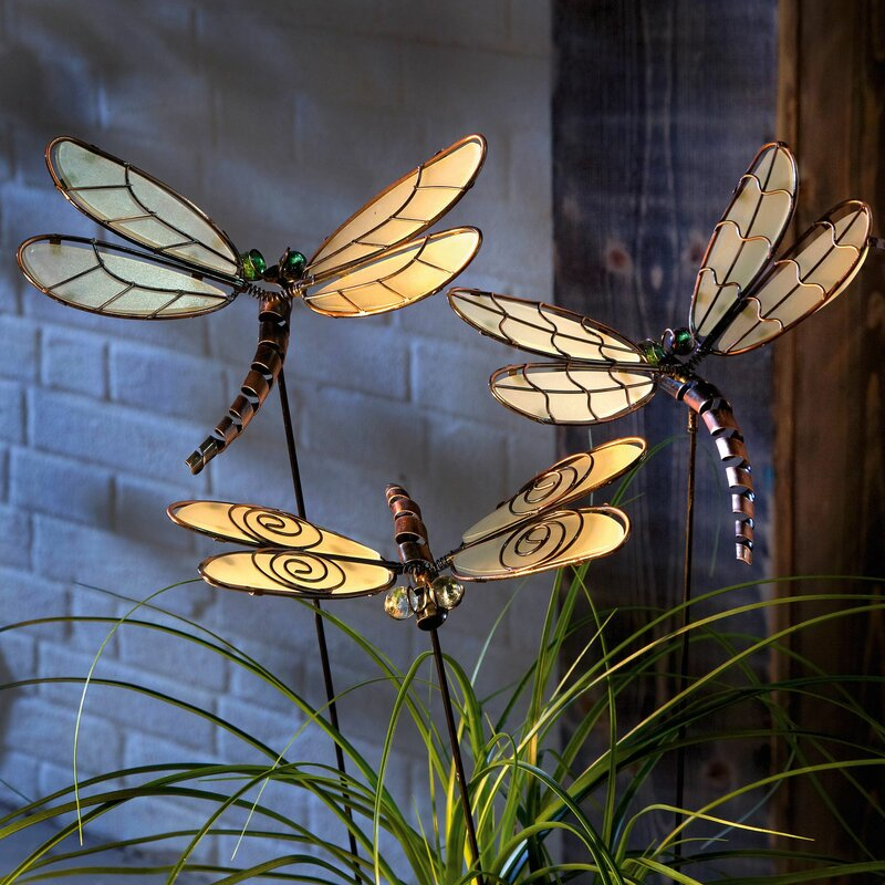 Nice Large Light Up Dragonflies Garden Stake 3 Piece Set Display Ornaments Metal  61cm