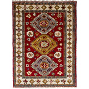 Lesa Hand-Knotted Rectangle Wool Red Oriental Area Rug