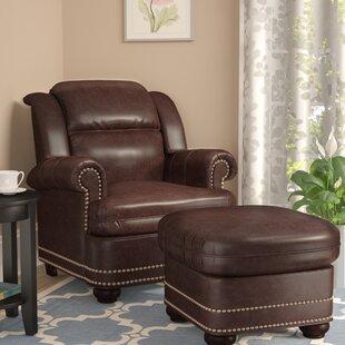 Ordinaire Faux Leather Chair And Ottoman | Wayfair