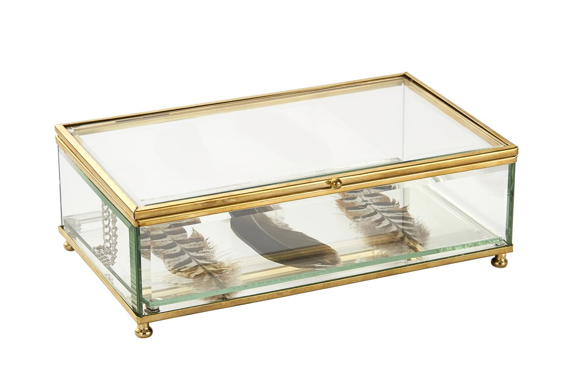 Sagebrook Home Decorative Clear Glass Jewelry Box with Feathers