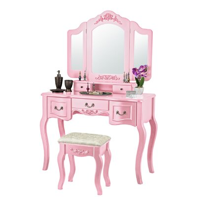 August Grove Saxton 7 Drawer Wood Vanity Set with Mirror & Reviews ...
