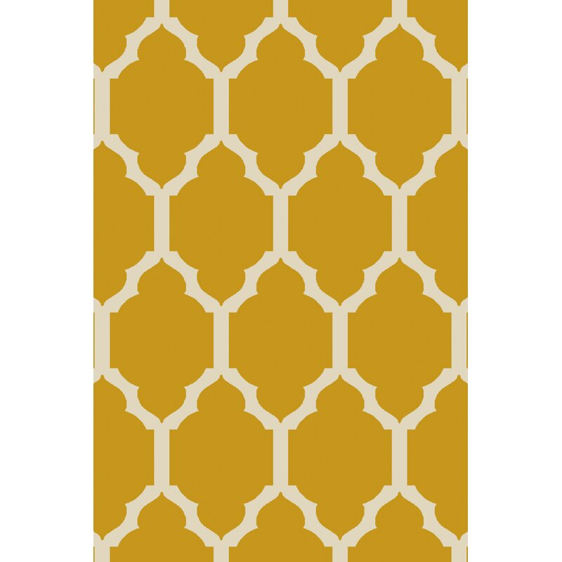 Alcott Hill Shannon Hand-Tufted Wool Gold Area Rug, Size: Rectangle 8 x 10