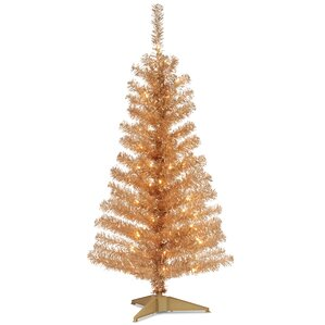 Tinsel Trees 4 Champagne Artificial Christmas Tree With 70 Clear Lights And Stand
