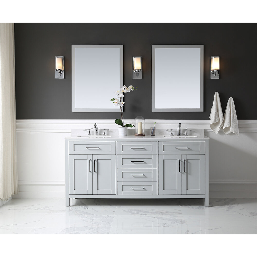 two this a featuring vanity doors an undermount teak gray feel venica sink the compartments earthy bathroom storage for wash and double with your is stylish cabinet
