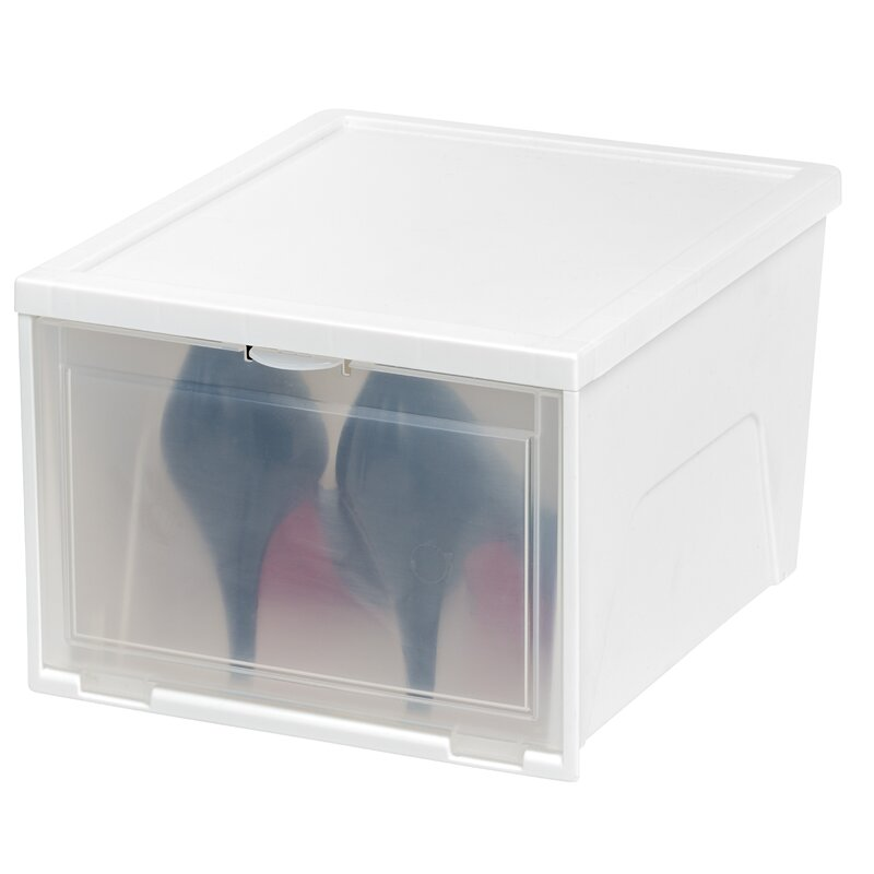 Front Entry 1 Pair Stackable Shoe Storage Box