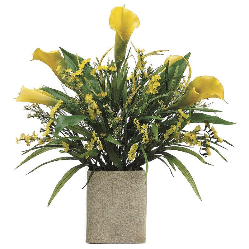 Tori Home Calla Lilystaticsgrass In Rectangular Vase Wayfair