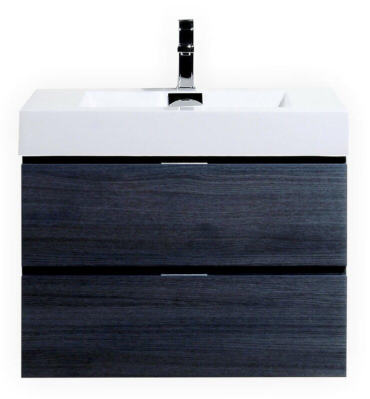 """wade logan tenafly 30"""" single wall mount modern bathroom vanity"""