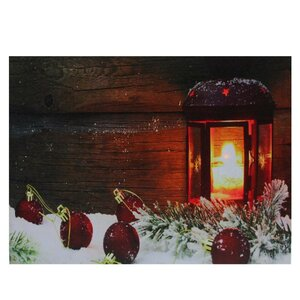 'LED Lighted Candle Lantern in the Wintry Outdoors Christmas' Photographic Print on Canvas