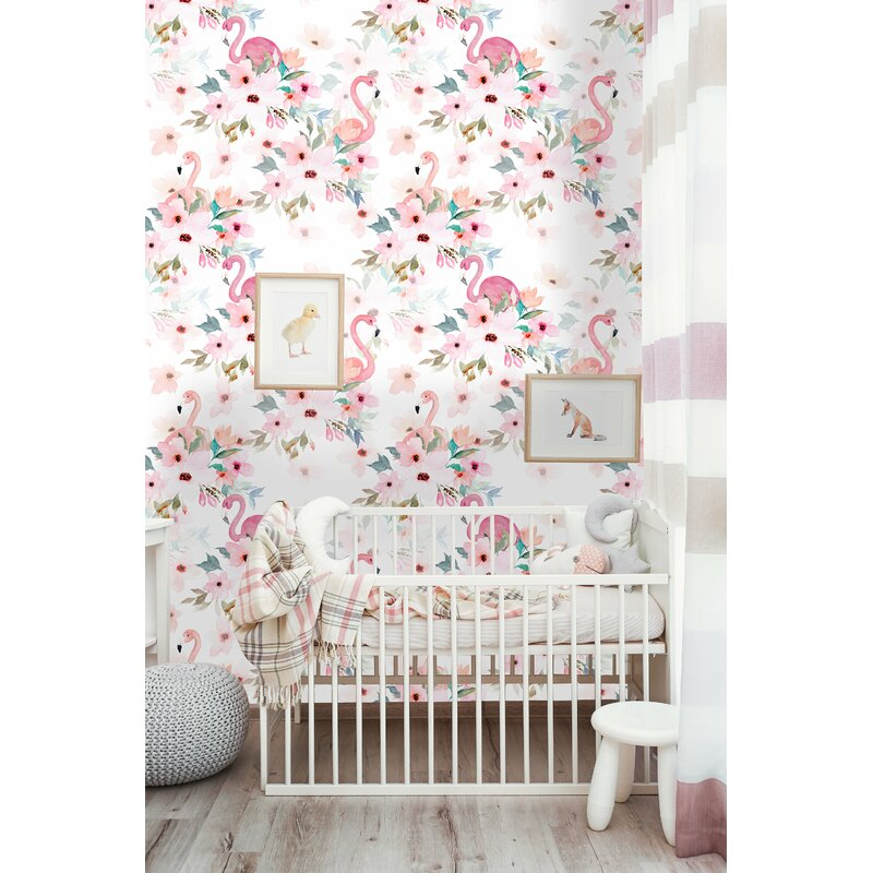 Wilkes Removable Flamigos Peony Nursery 8 33 L X 25 W And Stick Wallpaper