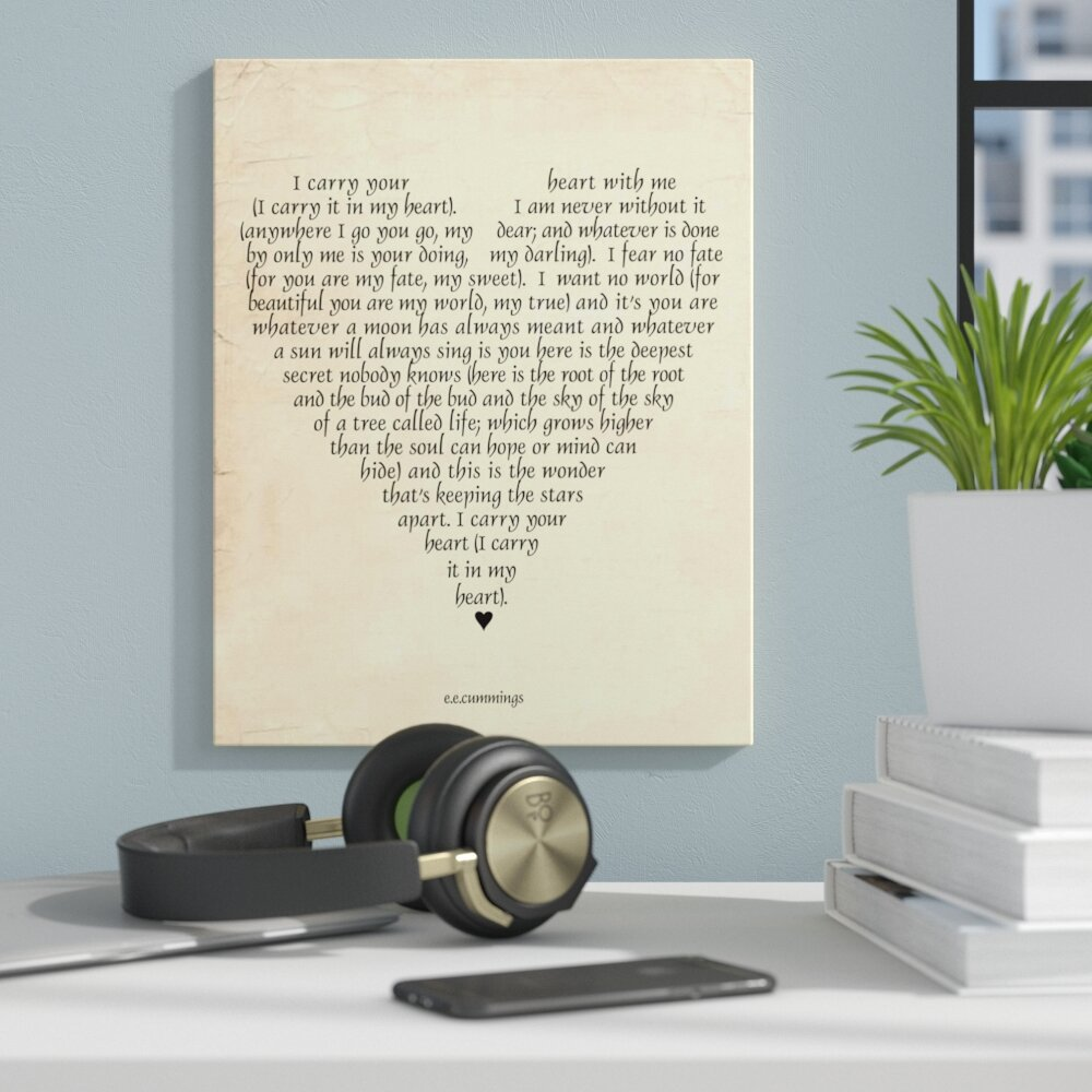 Zipcode Design u0027I Carry Your Heartu0027 by Susan Newberry Textual Art on Canvas u0026 Reviews | Wayfair & Zipcode Design u0027I Carry Your Heartu0027 by Susan Newberry Textual Art on ...