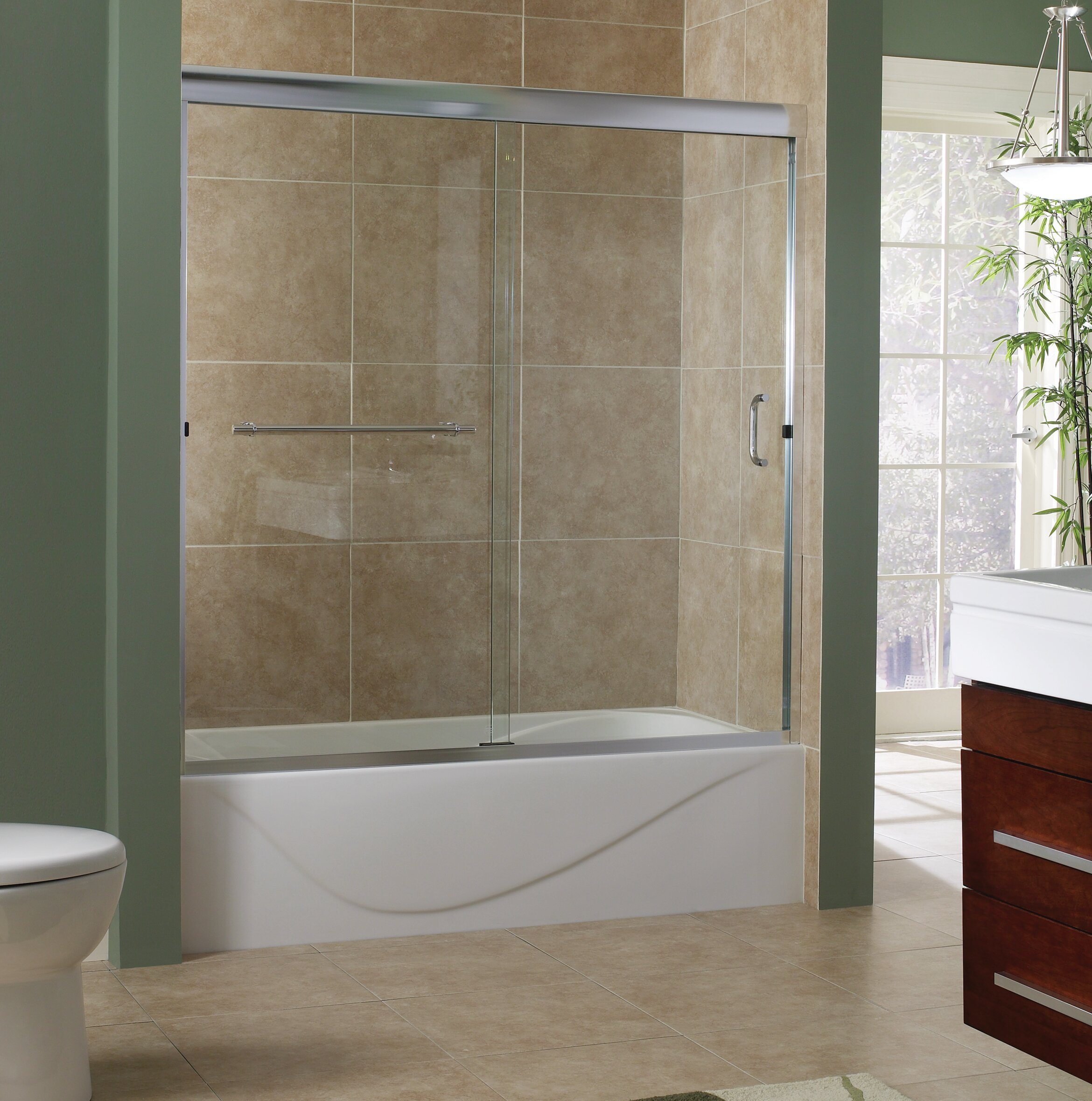 Hazelwood Home Marina 60 X 60 Bypass Frameless Tub Door Wayfair