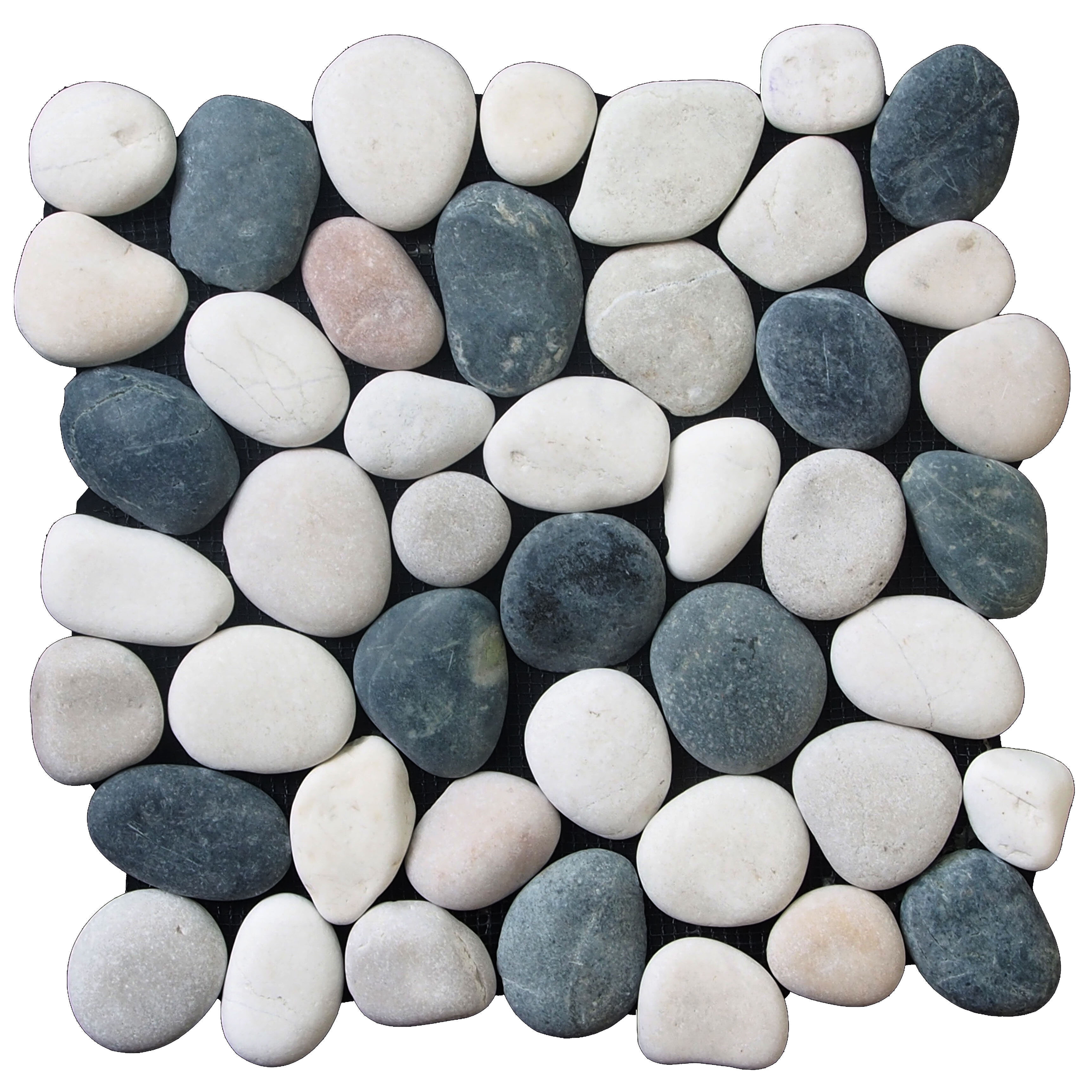 Pebble Tile Clic Random Sized Natural Stone In Black White Reviews Wayfair