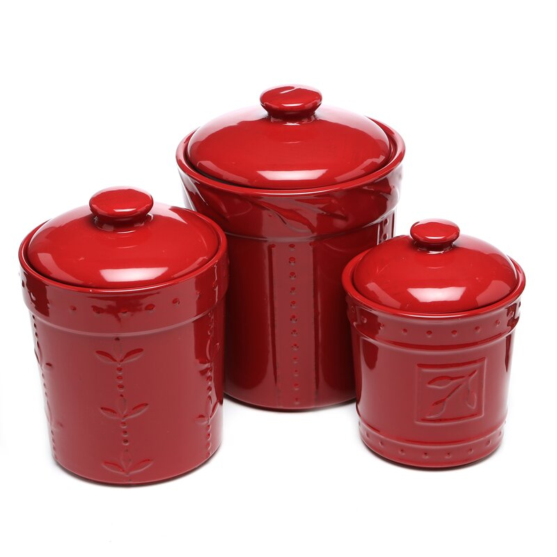 Colorful Kitchen Canisters Sets lark manor genesee 3 piece kitchen canister set & reviews   wayfair