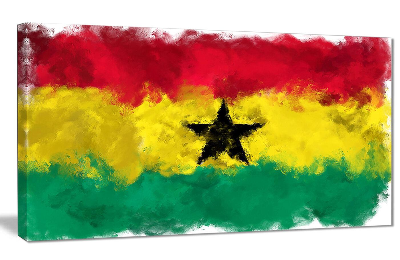 DesignArt \'Ghana Flag Illustration\' Painting Print on Wrapped Canvas ...