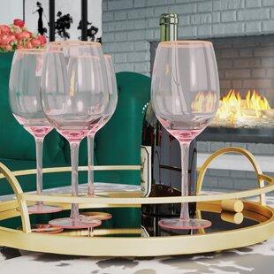 cab2edbb1a Gold Rimmed Pink Wine Glasses You'll Love   Wayfair