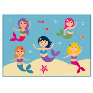 Olive Kids Mermaids Blue Area Rug