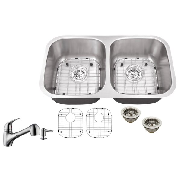 Soleil 18 Gauge Stainless Steel 29 13 L X 5 W Double Basin Undermount Kitchen Sink With Low Profile Pull Out Faucet Wayfair