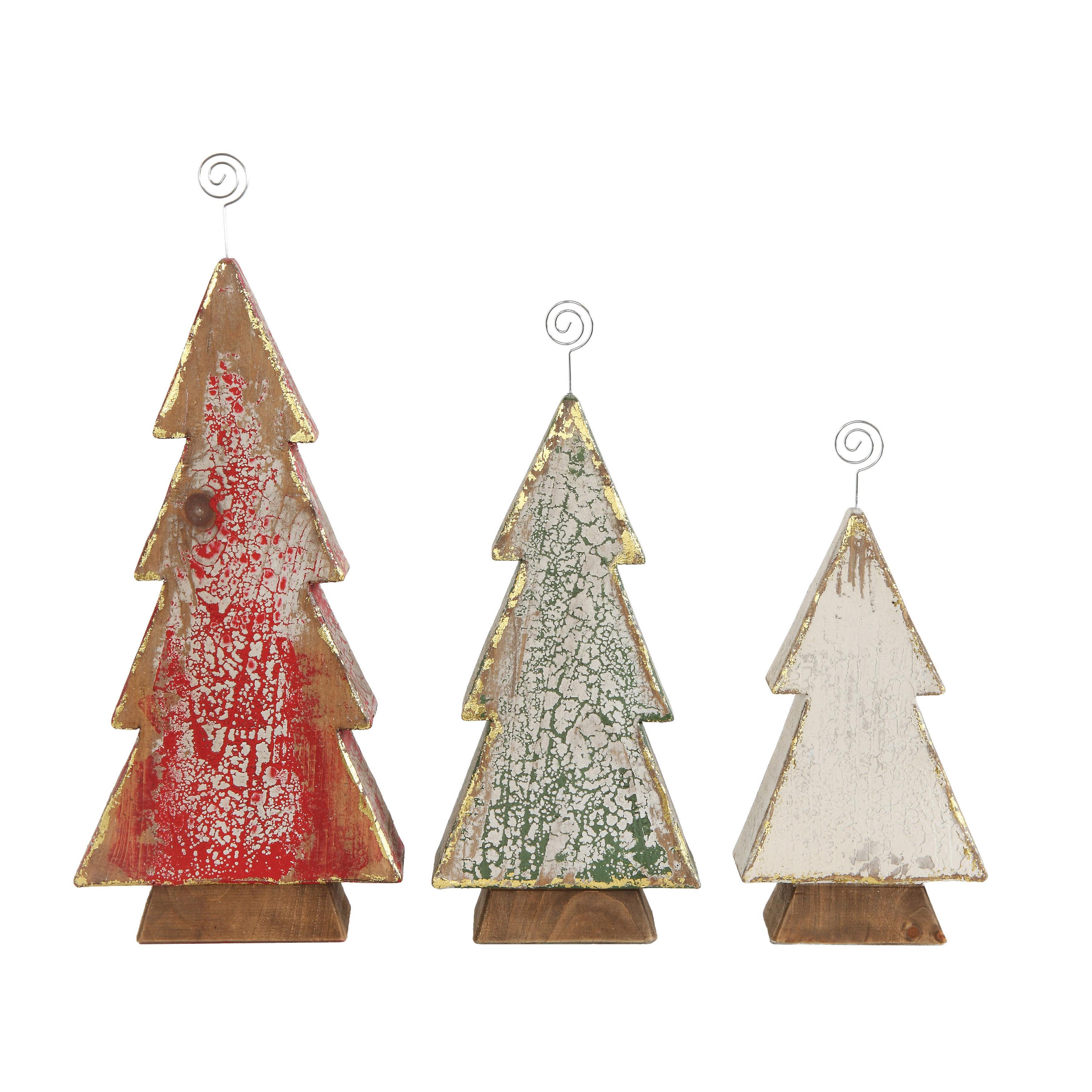 The Holiday Aisle Wood Tree 3 Piece Place Card Holder Set | Wayfair