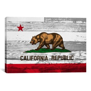 California Flag Grunge Wood Boards Vintage Advertisement On Canvas