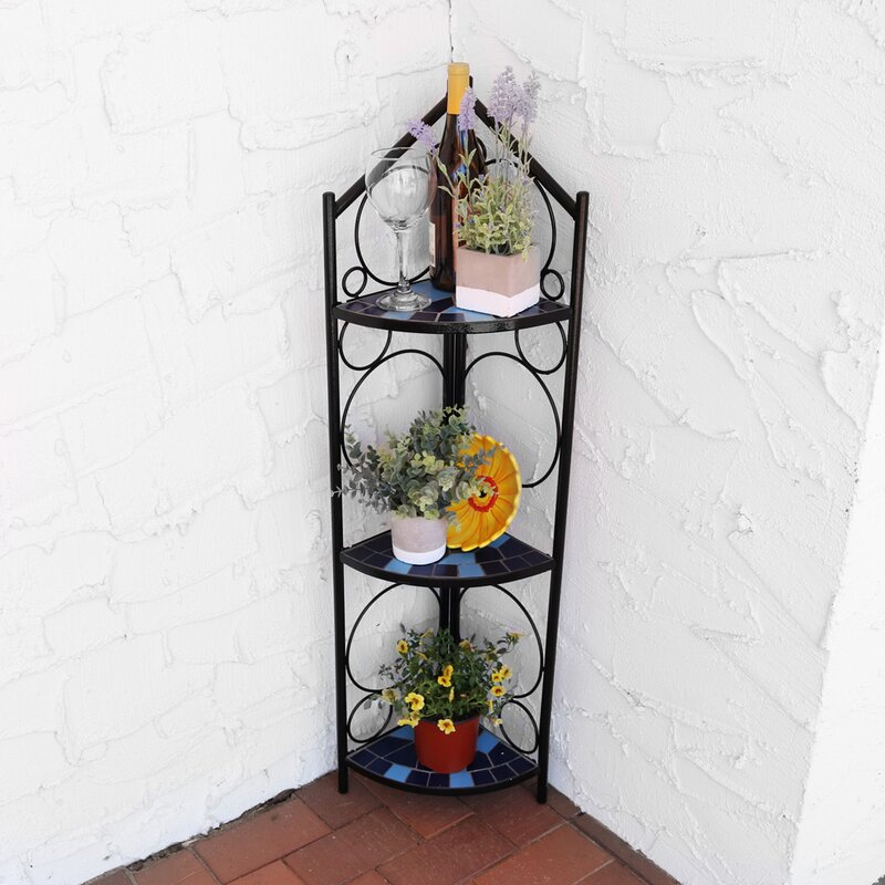 Louth 3 Tier Mosaic Tiled Indoor Outdoor Corner Display Plant Stand