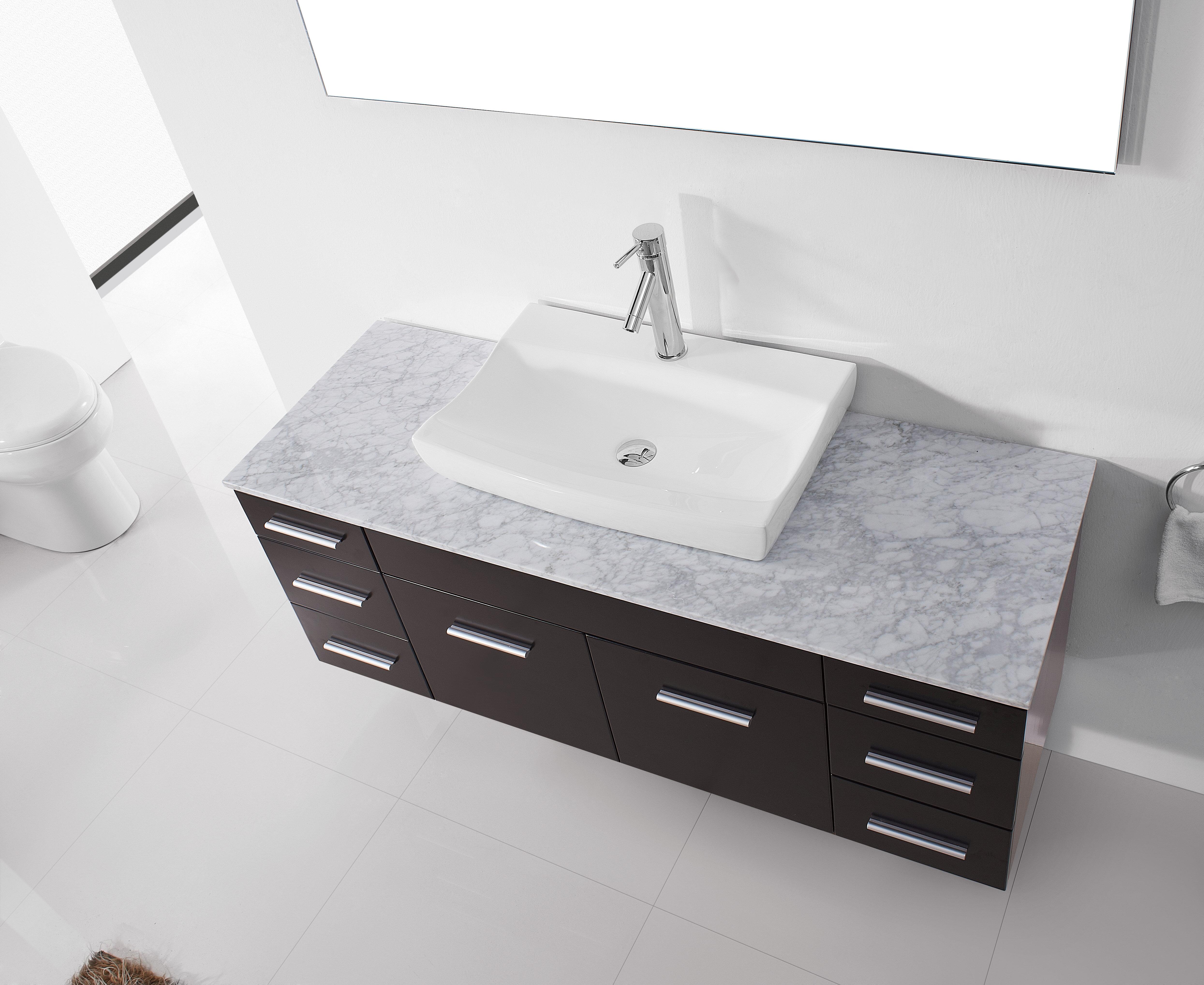 Laude Run Rutan 56 Single Bathroom Vanity Set With White Marble Top And Mirror Wayfair