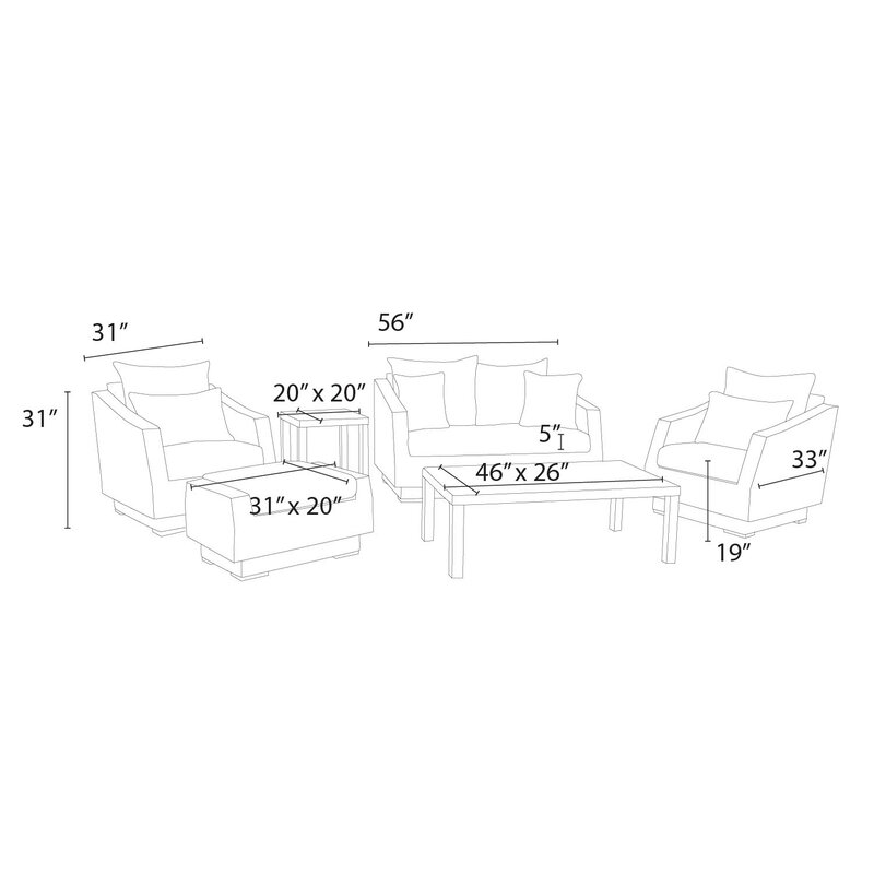 Wade Logan Castelli 6 Piece Sofa Set With Sunbrella Cushions