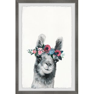 Zechariah Floral Crowned Alpaca Framed Art by Viv   Rae