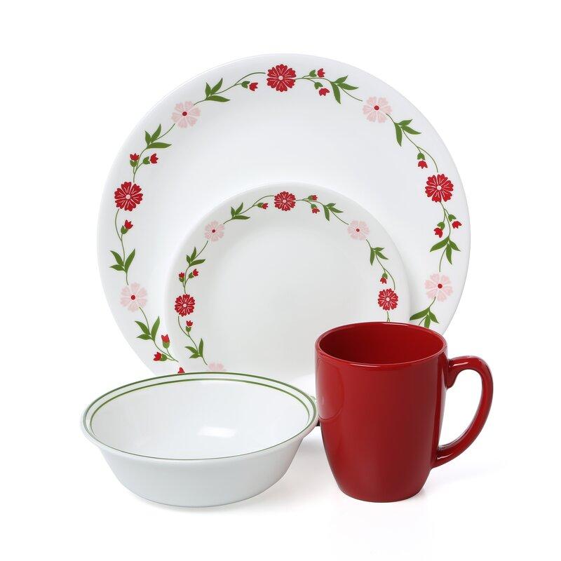 corelle livingware spring pink 16 piece dinnerware set, service for