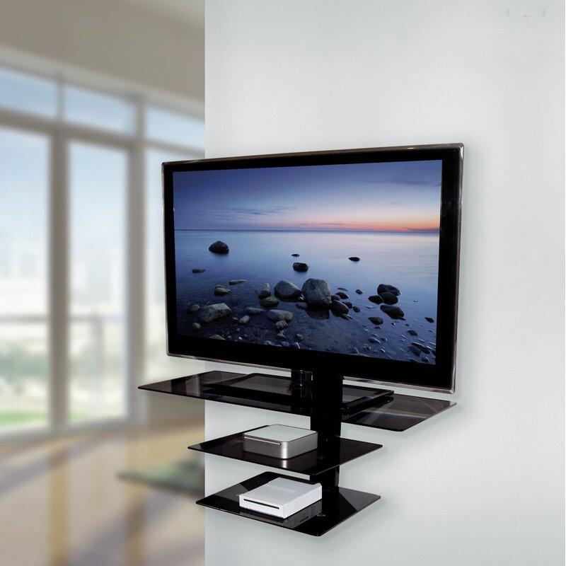 avf wall mounted glass shelving system for up to 50 screens wayfair rh wayfair com glass tv shelves wall mount glass tv shelves wall mount