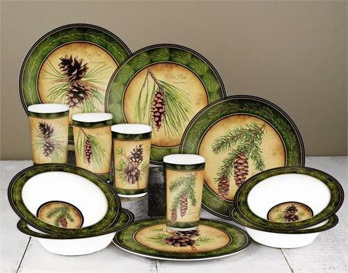 MotorHead Products Pinecone Melamine 12 Piece Dinnerware ...