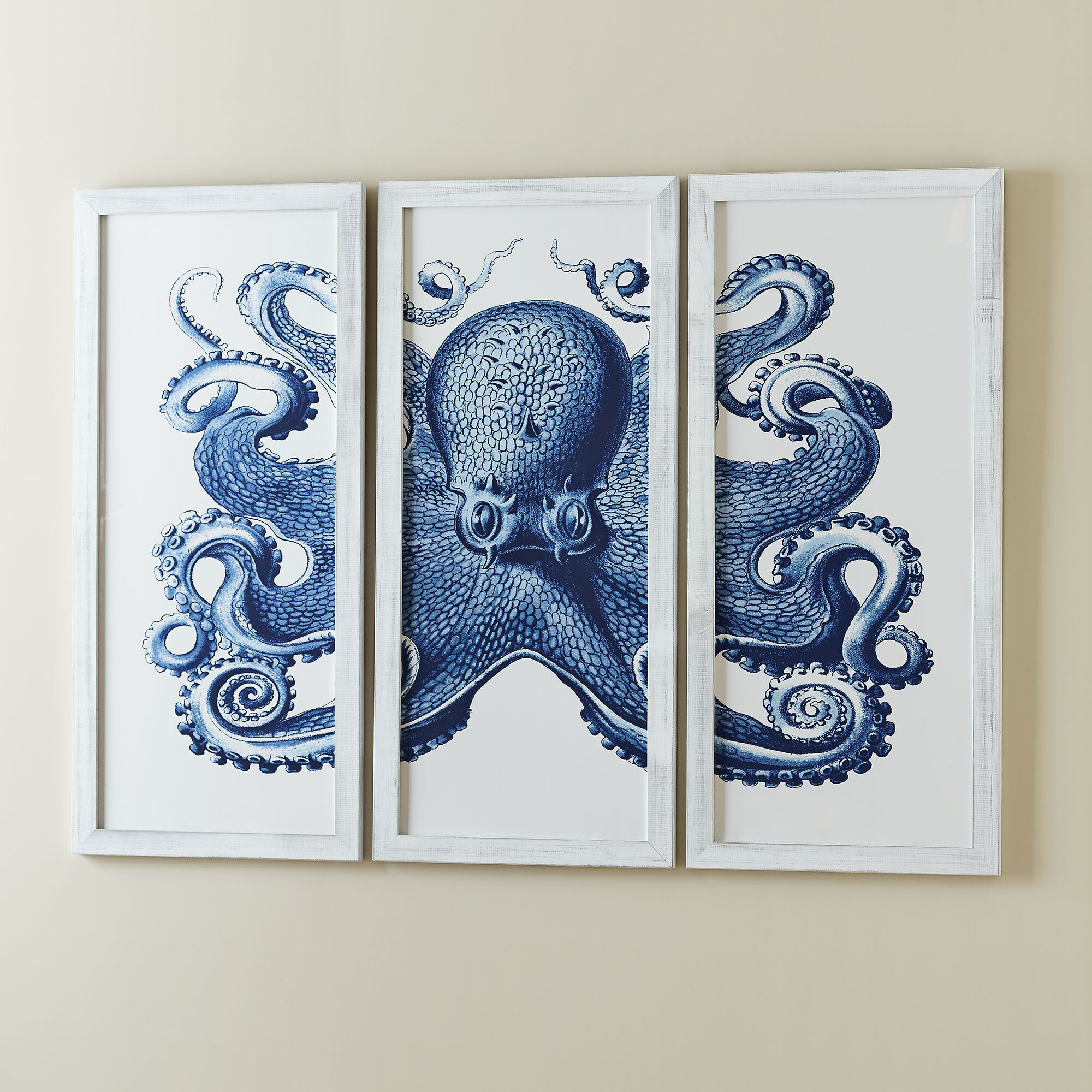 Birch Lane™ Blue Octopus Tryptic Wall Art & Reviews   Birch Lane