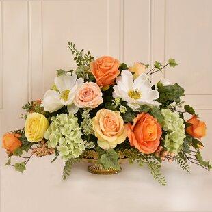 Silk magnolia centerpiece wayfair magnolia and rose silk flower centerpiece mightylinksfo