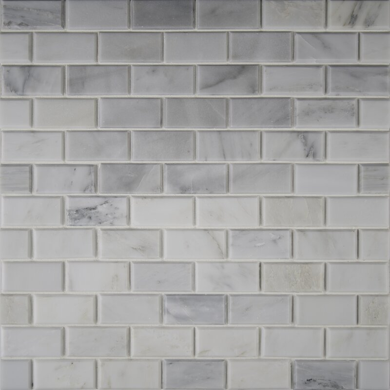Arabeo Carrara Greecian Mounted 2 X 4 Marble Mosaic Tile In White