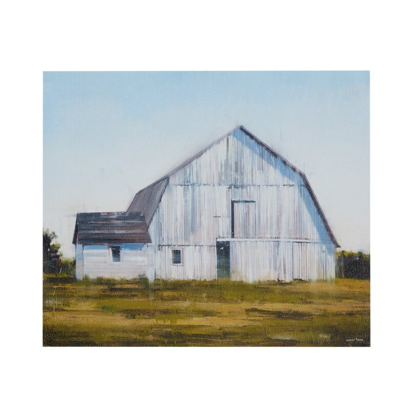 August Grove Old White Barn Painting Print On Canvas