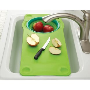 Over The Sink Cutting Board With Collapsible Colander
