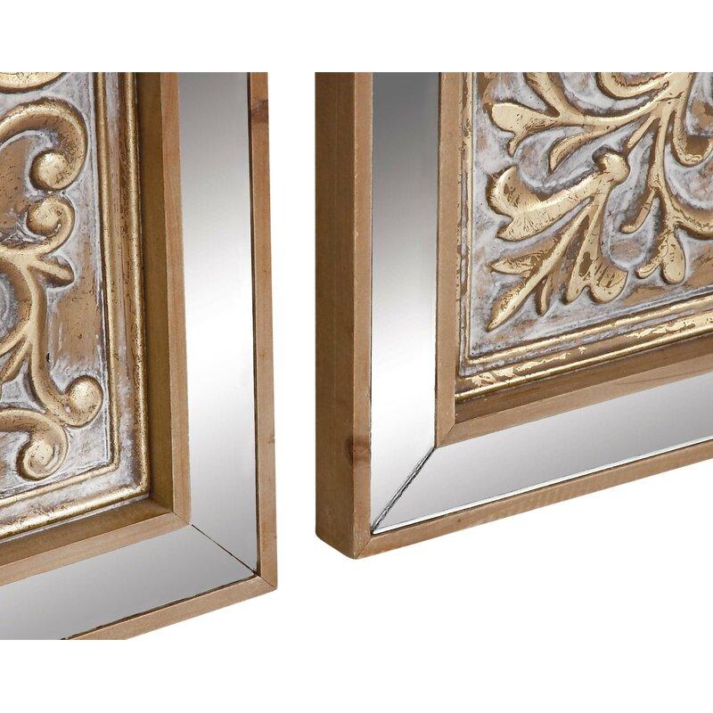 dff334fa7e Cole & Grey 3 Piece Metal Mirror Plaque Wall Décor Set & Reviews   Wayfair