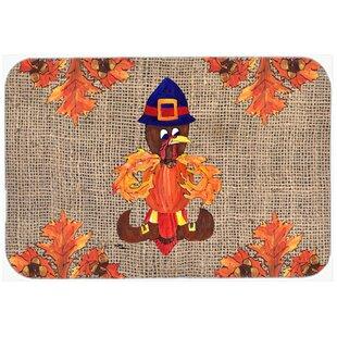 Thanksgiving Turkey Pilgrim Fleur De Lis Kitchen/Bath Mat