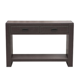 Beecher Faux Leather Drawer Console Table With Nail Head Trim