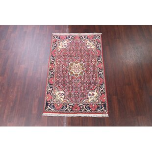One Of A Kind Myatt Bidjar Vintage Persian Traditional Hand Knotted 3 X 5 2 Wool Pink Navy Blue Ivory Area Rug
