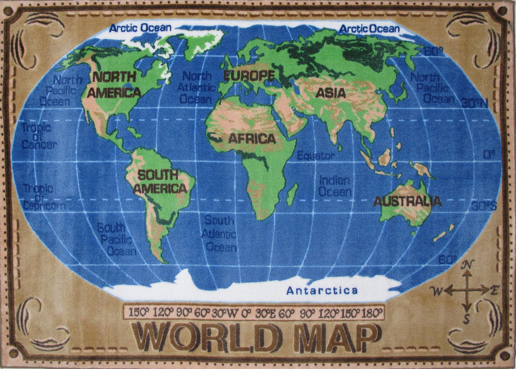 Fun Rugs Supreme World Map Kids Rug Reviews Wayfair