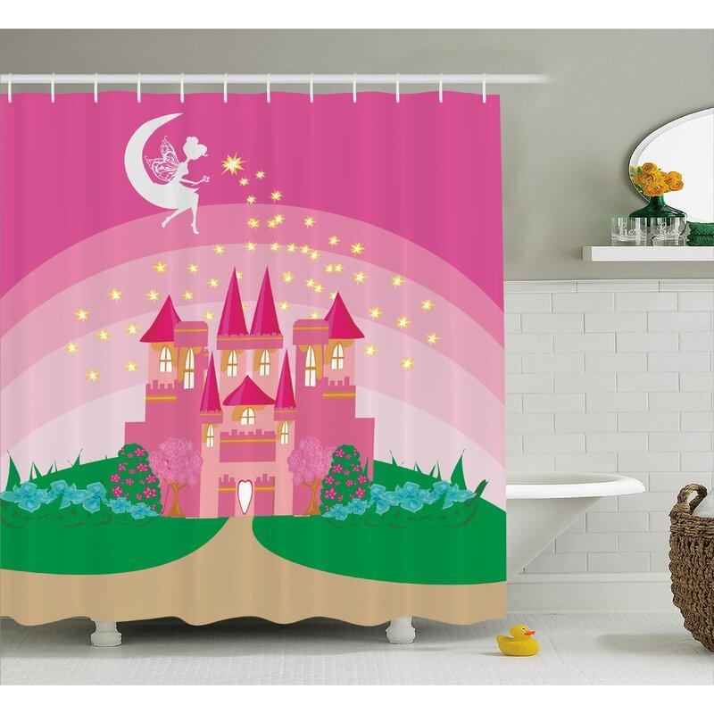 Rhonda Girly Magic Fantasy Fairy Tale Princess Castle Shower Curtain