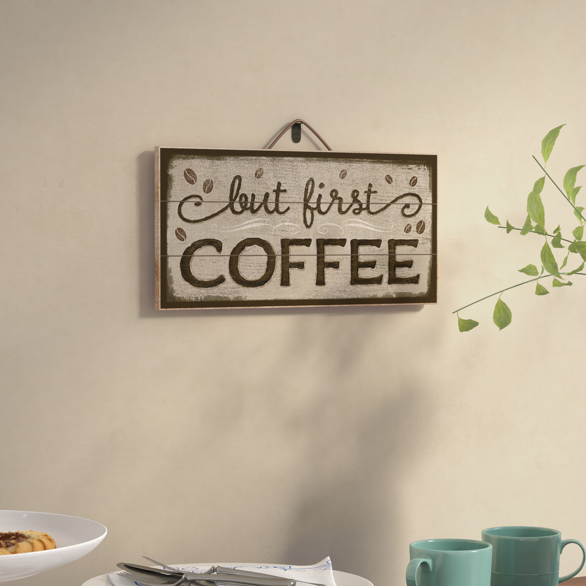Winston Porter But First Coffee Horizontal Pallet Wood Sign Wall